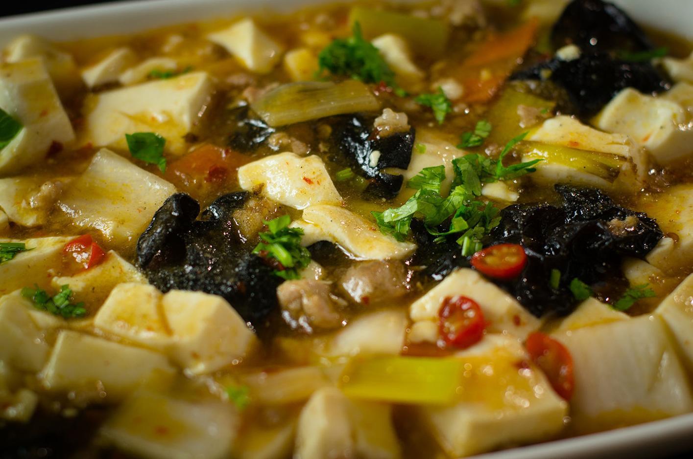 Tofu con verduras y salsa picante