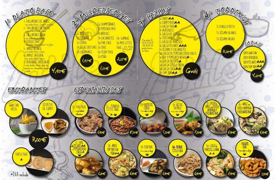 Carta de nuestro restaurante tailandés en Valencia