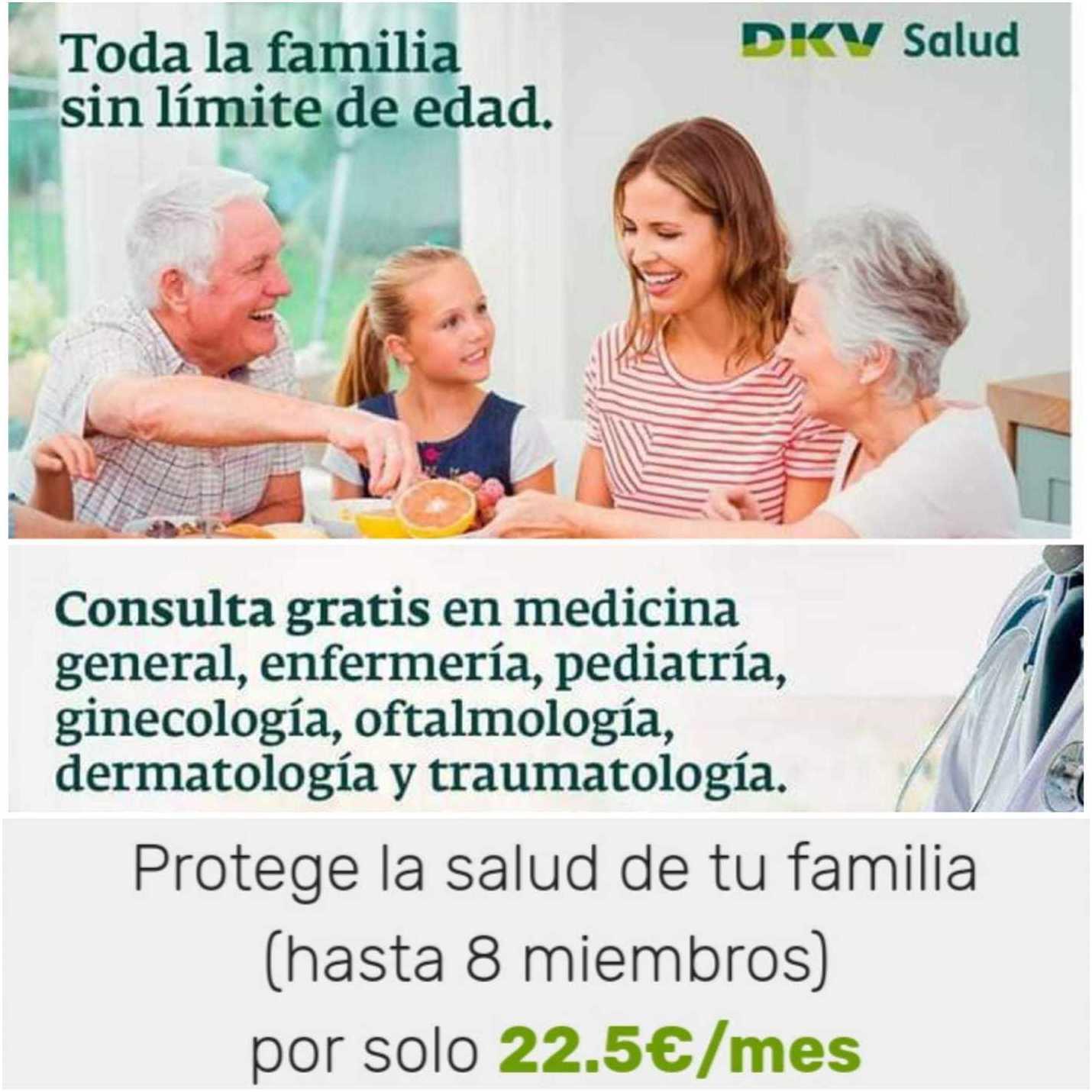 22,50€/mes toda tu familia DKV Famedic Plus