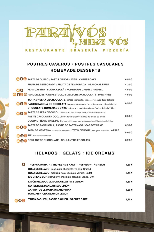 Carta de postres: Especialidades de Restaurante Para Vós