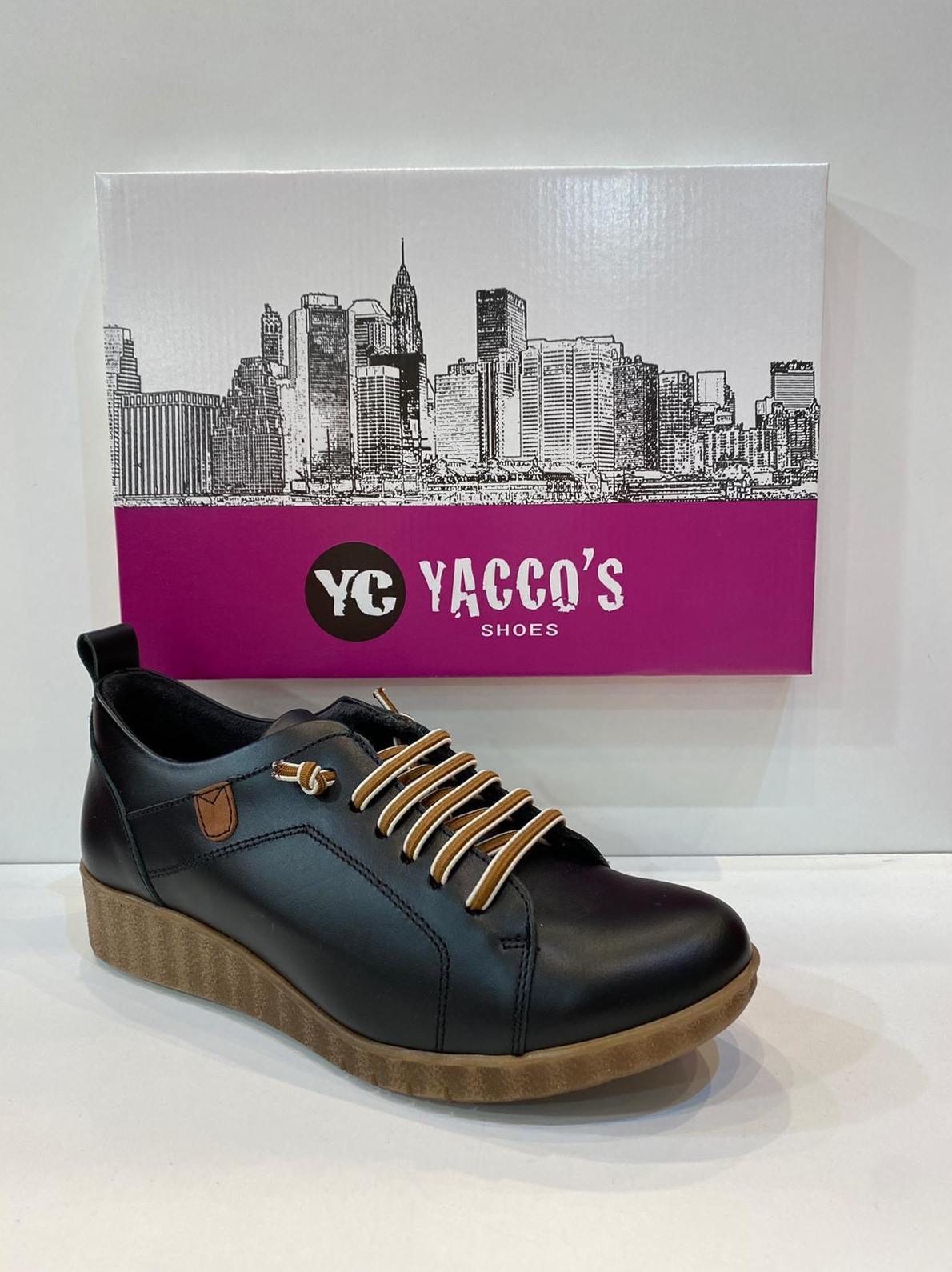 Blucher de dona, de la marca Yacco's, ,ample especial, plantilla de làtex anatòmica, adaptable a plantilles ortopèdiques, amb sola de crepe 60€