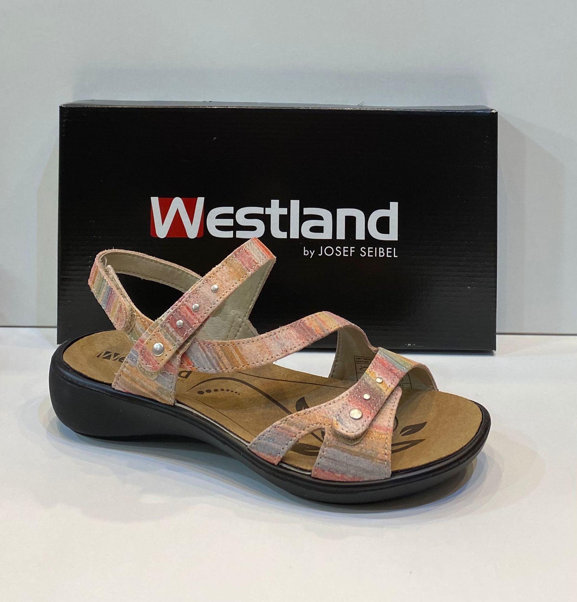 Sandàlia de dona, de la marca Westland, ample especial, adaptable a totes les amplades, plantilla de làtex extraible, adaptable a plantilles ortopèdiques, sola de politilè antilliscant 79.95€