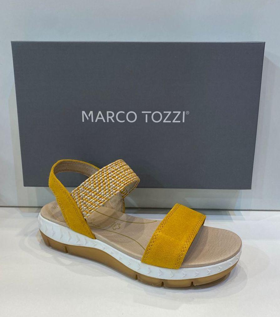 Sandàlia de dona, de la marca Marco Tozzi, ample especial, plantilla anatòmica de làtex i sola de politilé  i crepe 59.95€