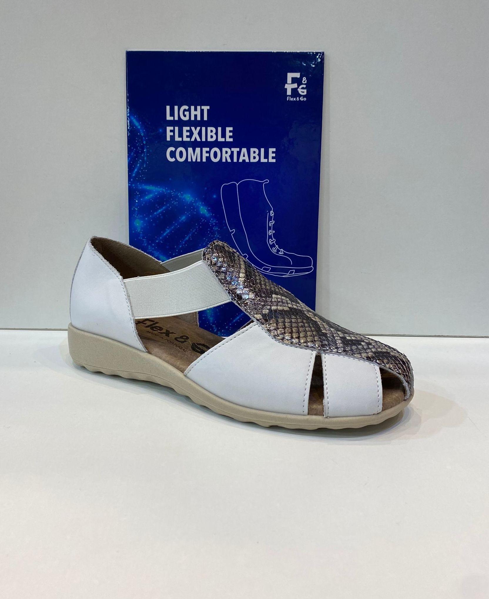 Sandàlia tapada de dona, de la marca Flex&Go, ample especial, plantilla de làtex i sola lleugera i molt flexible, extremadament còmodes 60€
