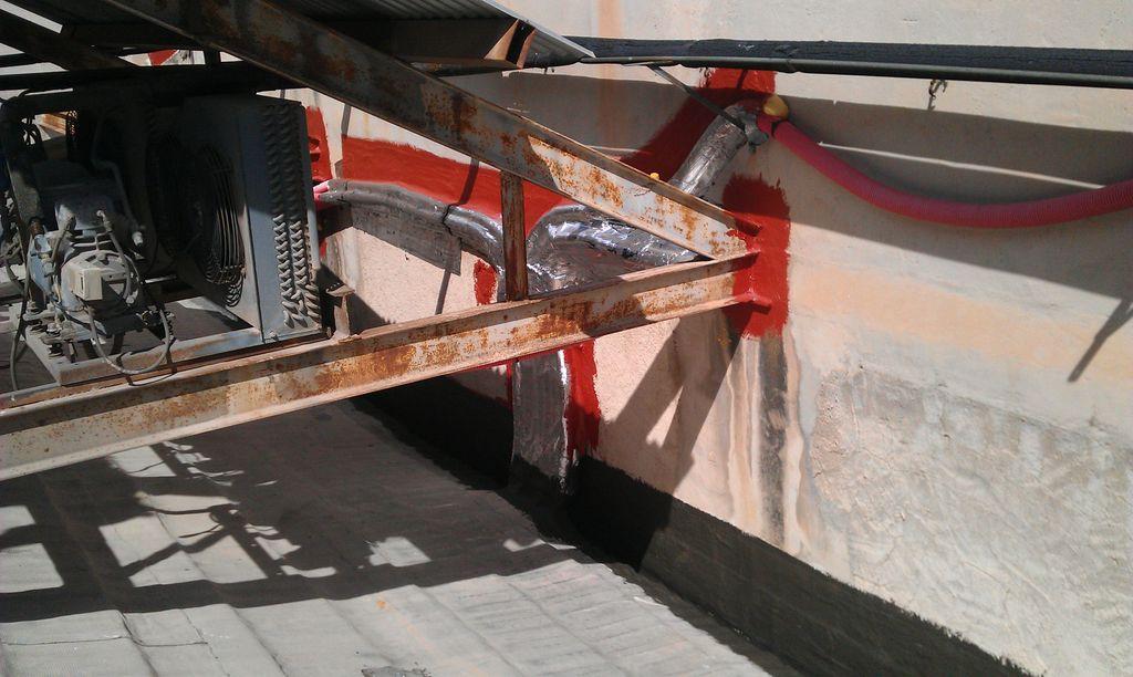 canal impermeabilizada con mortero hidrofugo bicomponente y forrado de tubos con aluminio en dialprix