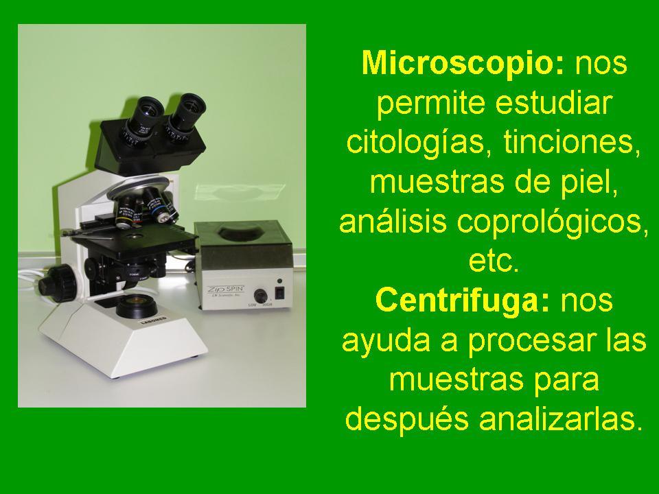 Microscopio y centrífuga