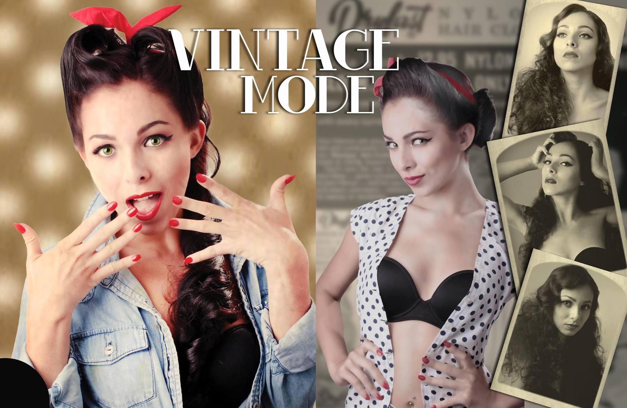 """Vintage Mode"" - Página central de Arty Magazine - Modelo Raquel Gonzalez"