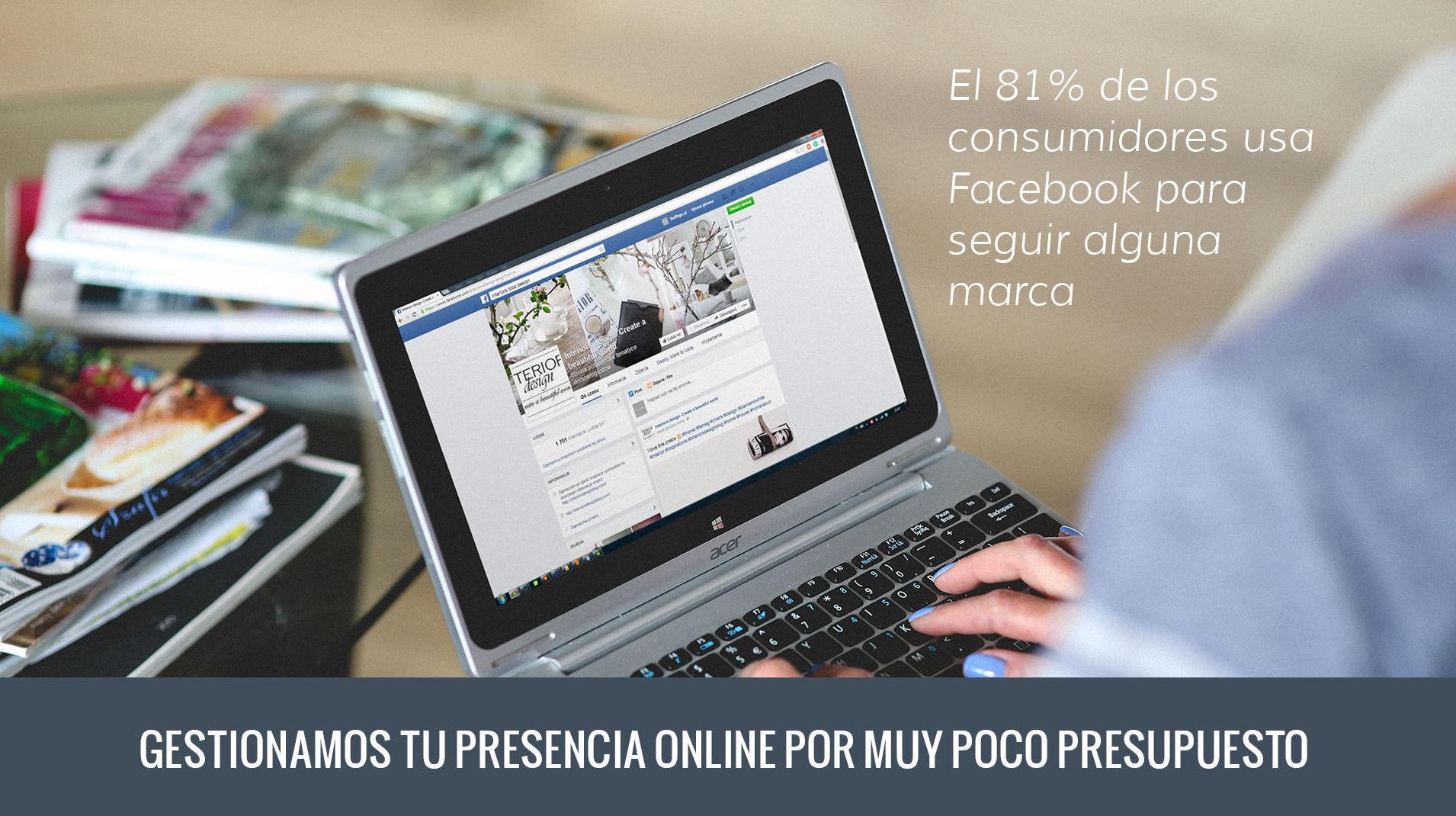 Gestionamos tu presencia en Facebook,  la principal red social de España