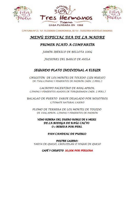 MENÚ ESPECIAL DÍA DE LA MADRE 2021 TABERNA TRES HERMANOS. RESERVA YA!