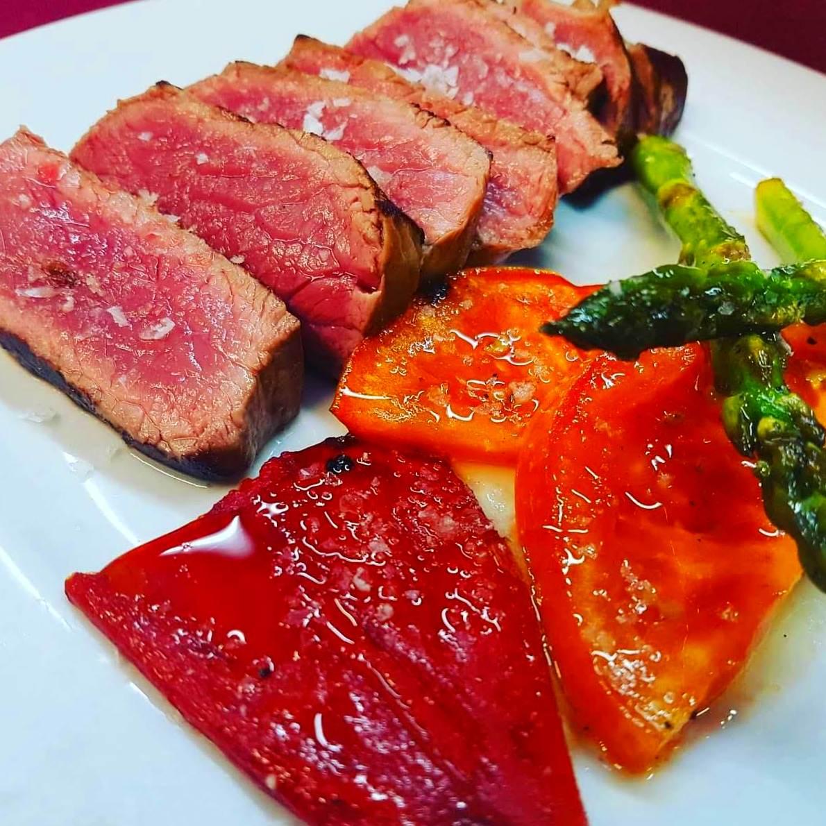 Picaña de vaca con verduras