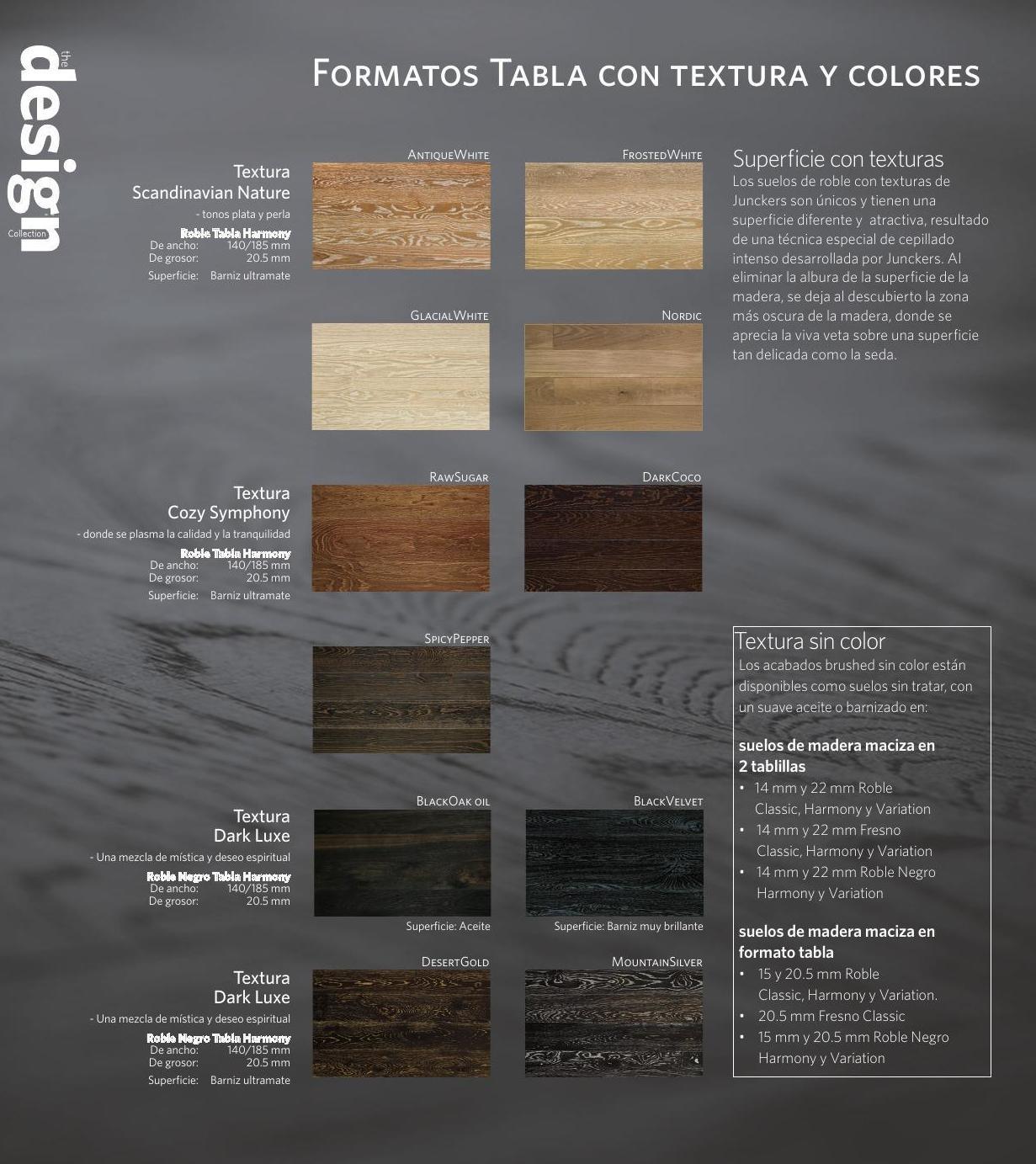 Junckers Design Collection formatos Tabla.