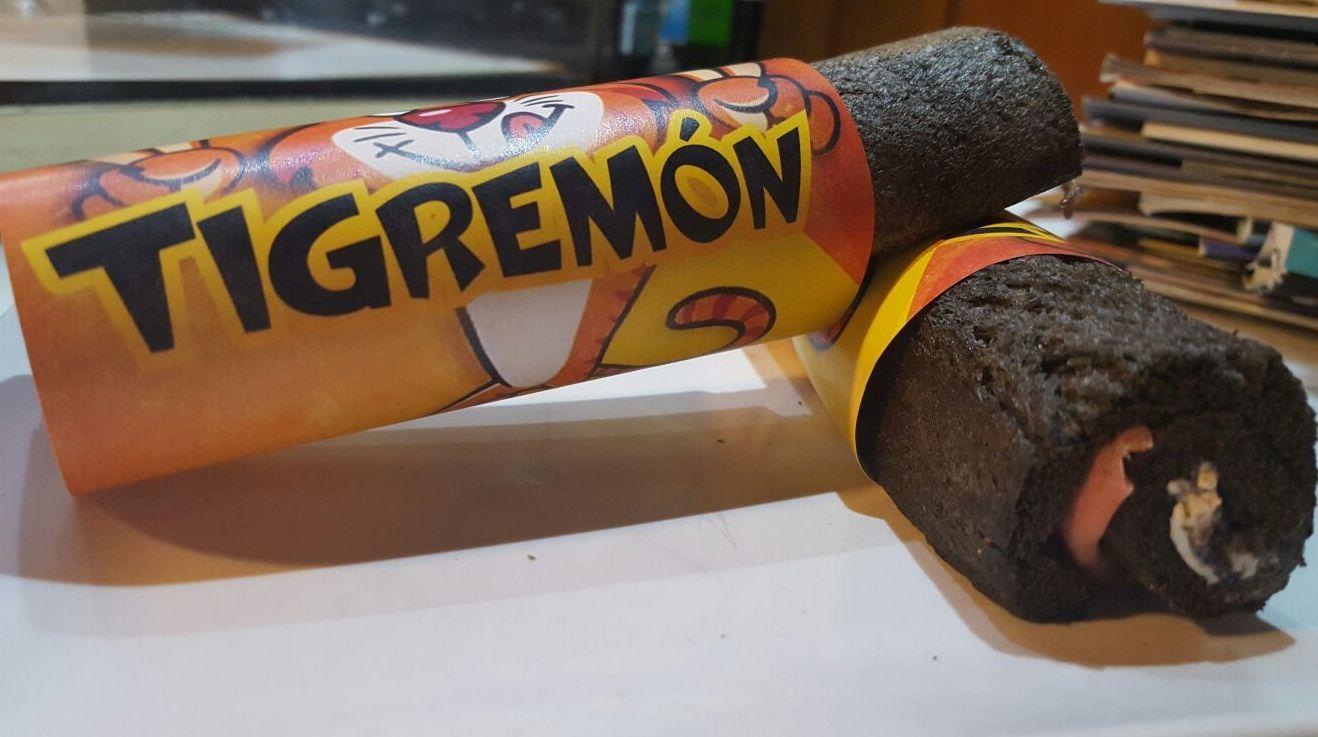 Tigremon. Tigreton de Jamón de Teruel, crema de queso de Albarracín, Tranmechini de olivas negras.