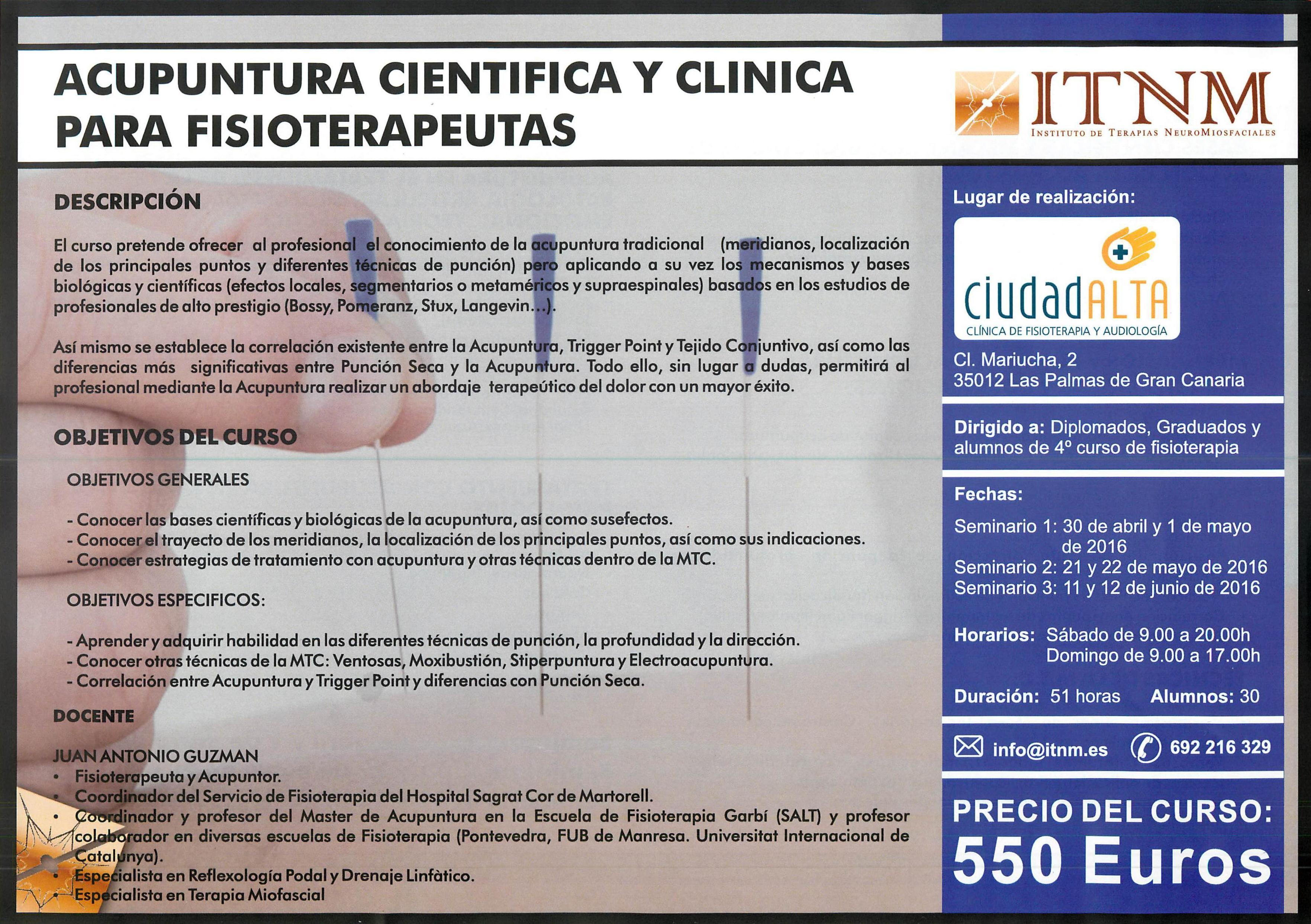 Acupuntura en Las Palmas, Curso de Acupuntura Clinica y Cientifica para Fisioterapeutas en Las Palmas