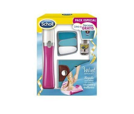 Scholl Velvet Smooth Pack especial lima electrónica + aceite uñas + Neceser: Productos de Parafarmacia Centro