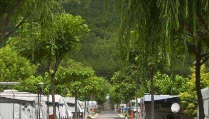 Camping con piscina, terraza y centro social en Huesca