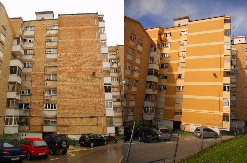 Rehabilitación de fachadas con andamio modular en Santander.