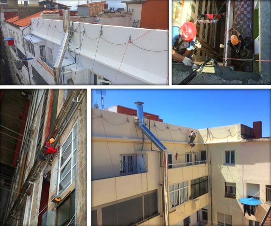 Rehabilitación de fachadas con trabajos verticales.