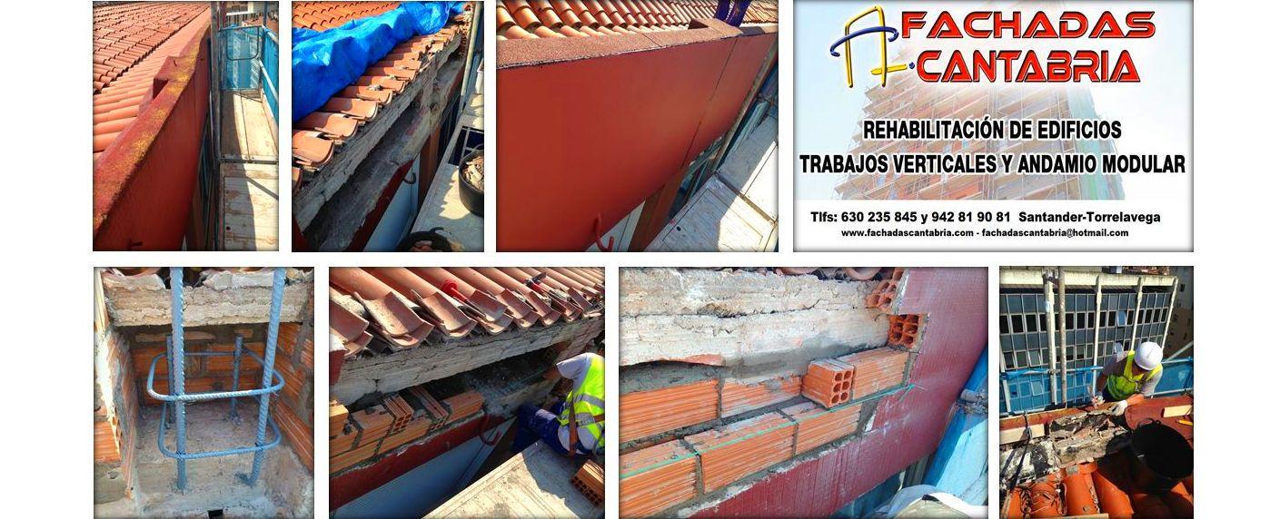 Trabajos de albañilería con andamios en comunidades de vecinos de Santander-Torrelavega.