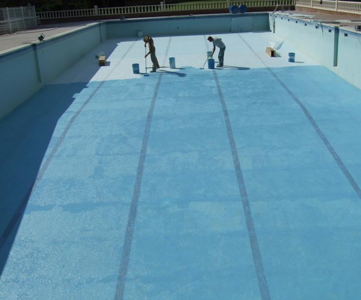 Revestimiento y restauración de piscina olimpica en Albarate de Zorita ( Guadalajara )