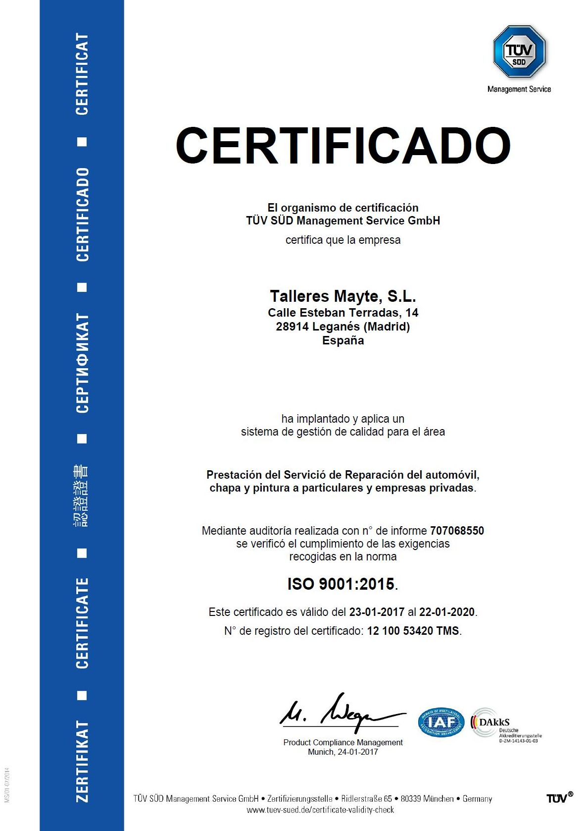 Iso9001 Talleres Mayte