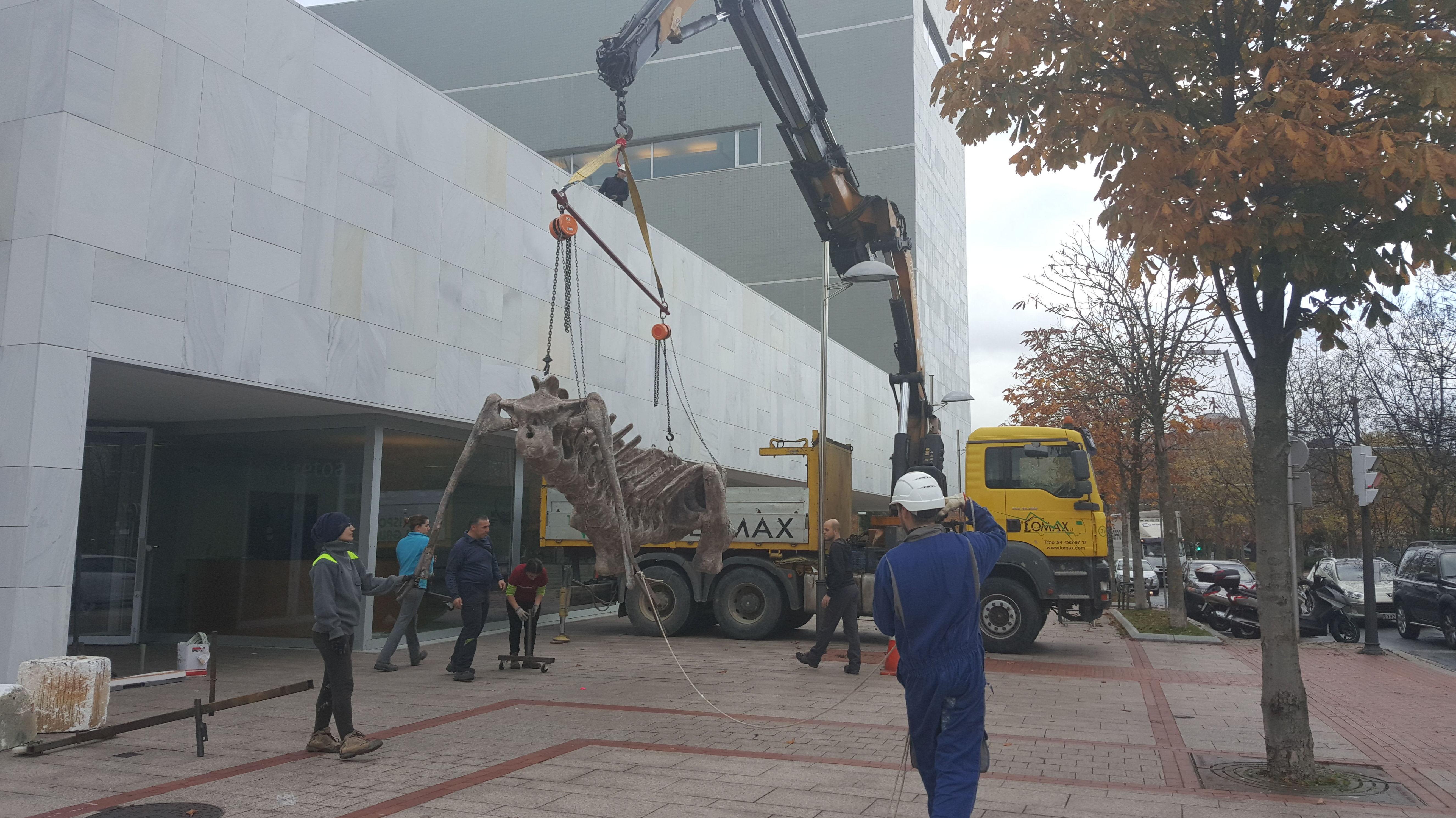 Colocacion de dinosaurio en el paraninfo de Bilbao
