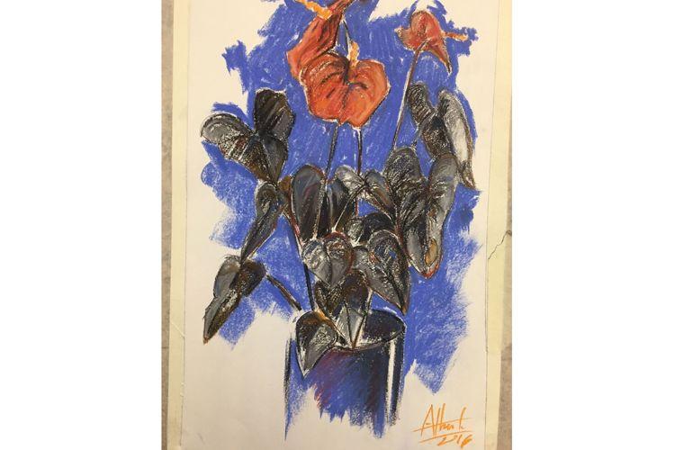 Pintura de jarrón con flores