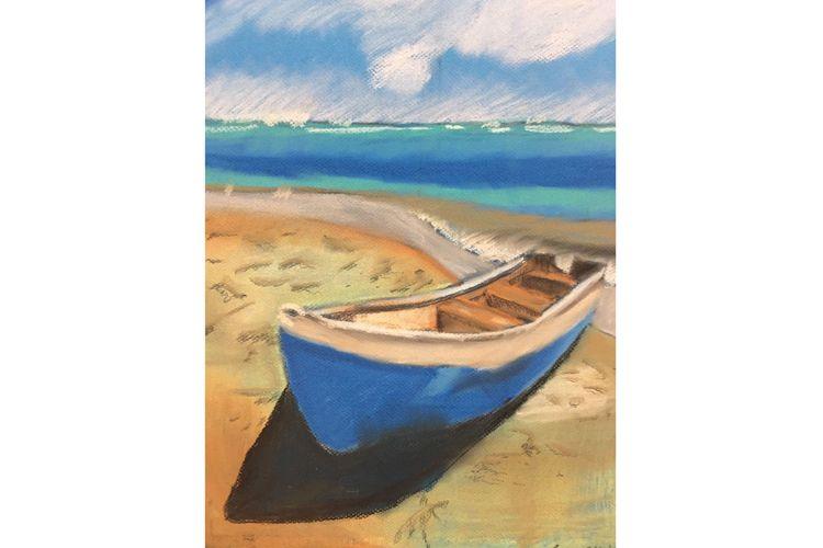 Dibujo de barca con paisaje