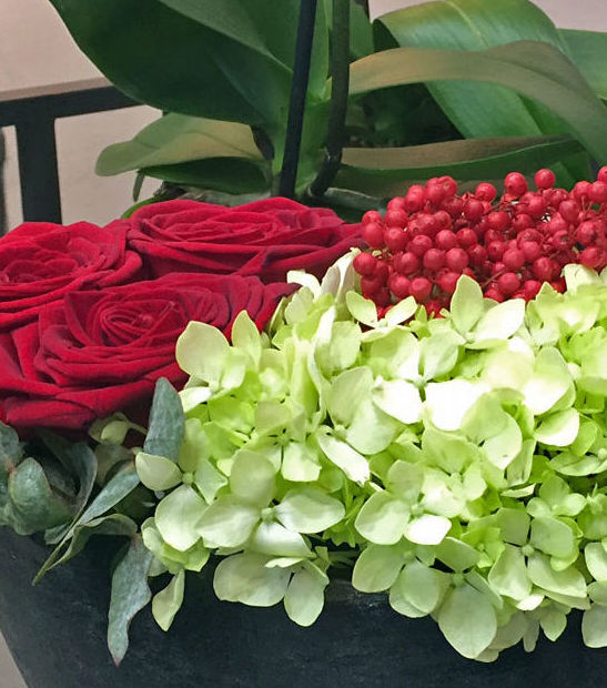 Rosas, hortensia y falsa pimienta