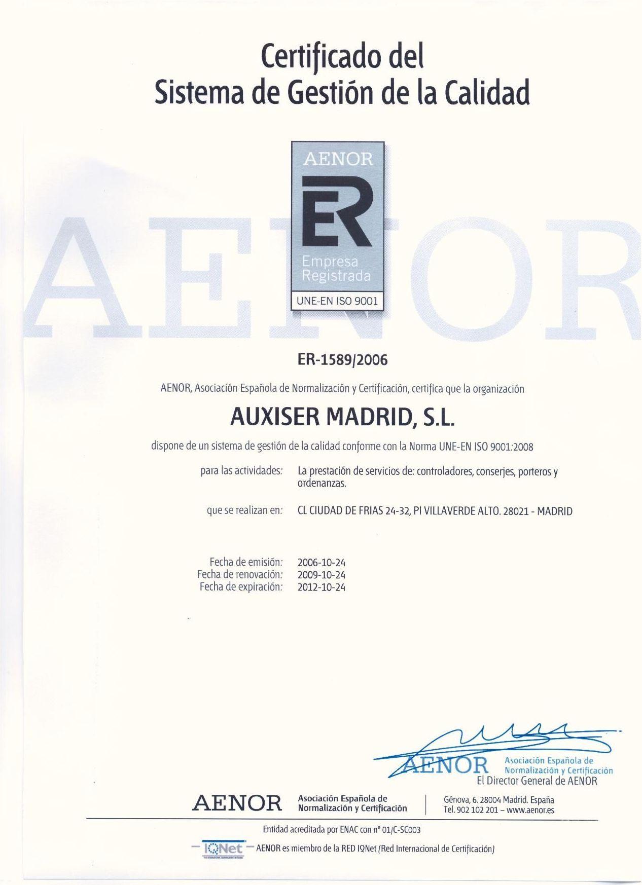Empresa de servicios auxiliares certificada por AENOR
