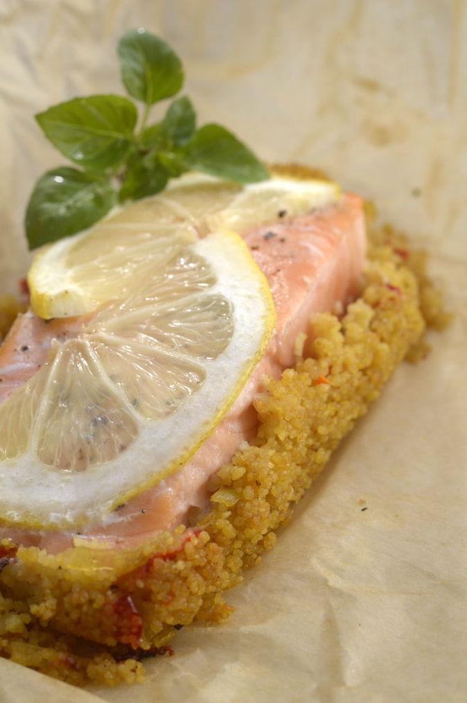 Salmón con polenta