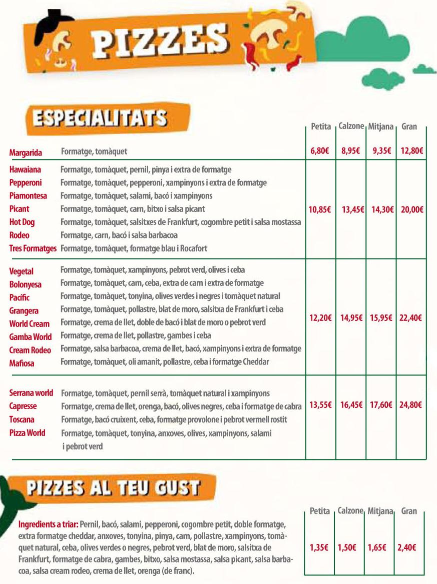 Carta Pizzes: La Carta de Pizza World