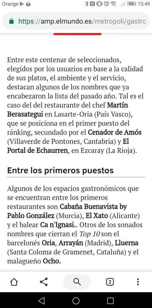 OCHO entre los 10 mejores restaurantes de España!!!!
