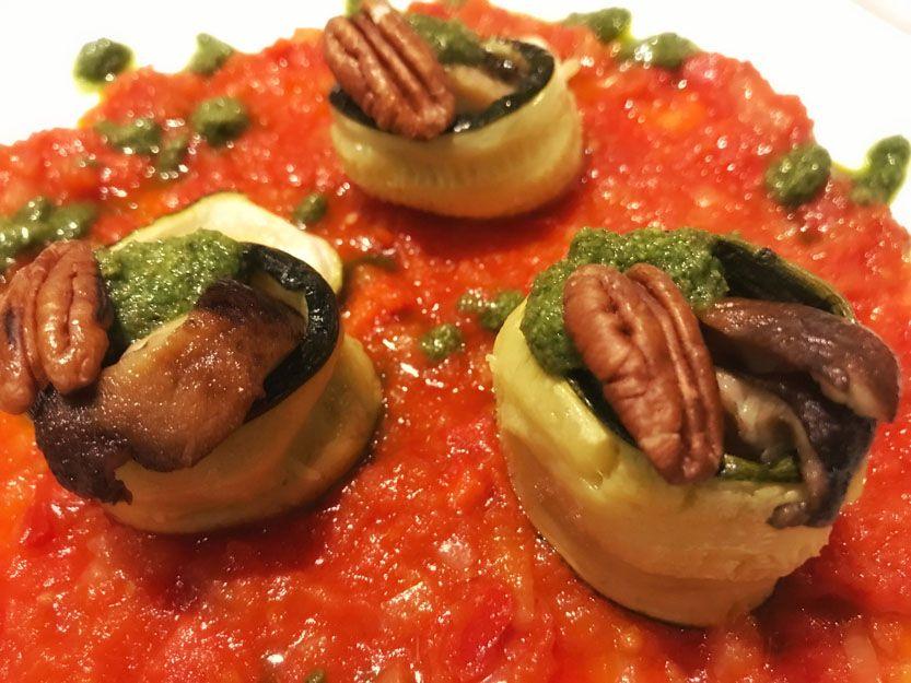 Zucchini con shiitake en nuestro restaurante argentino en Málaga