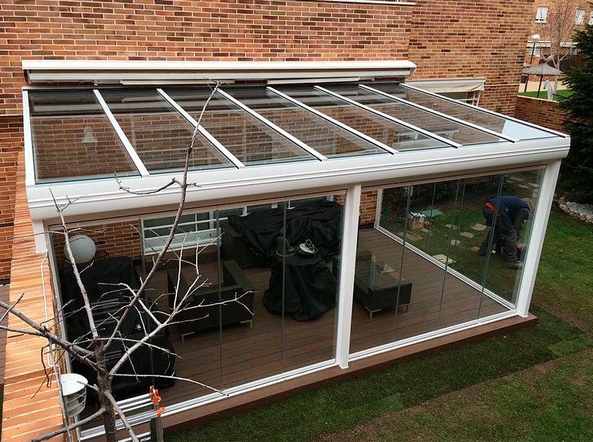 Cortina y techo de cristal