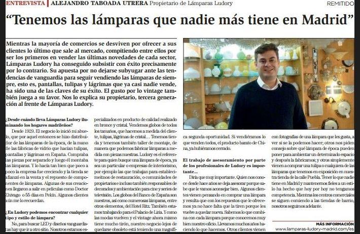 Entrevista de LA RAZÓN a ALEJANDRO TABOADA UTRERA Propietario de Lámparas Ludory