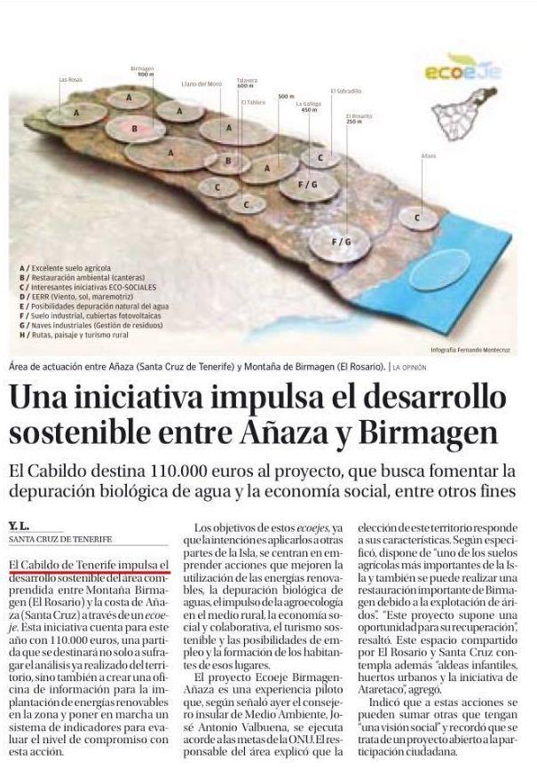 El Cabildo da 110.000 euros al desarrollo sostenible de Birmagen y Añaza
