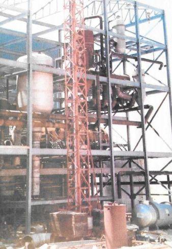 Estructura, quipos de tuberías en planta de sulfato sódico