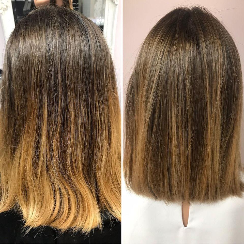 Corrección de color y corte para una media melena espectacular