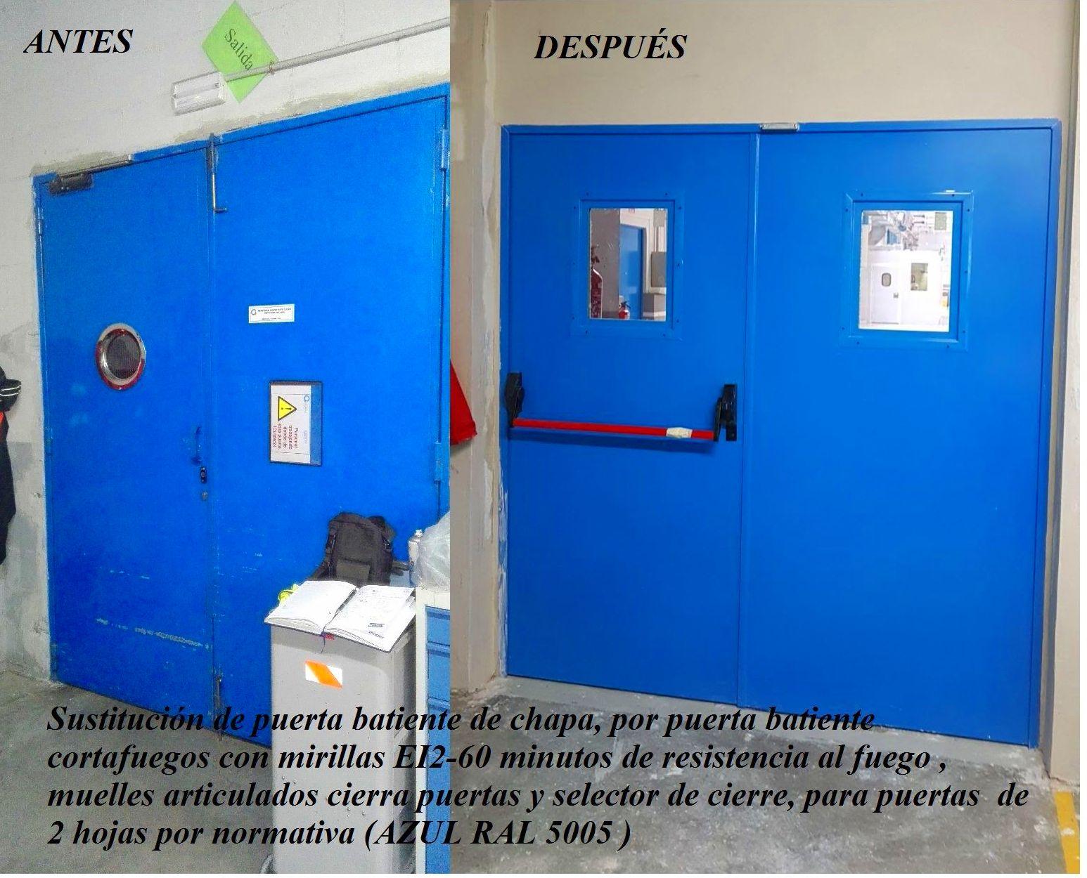 2 Puerta doble batiente mirillas Cortafuegos EI2-60 cierrapuertas y selector de cierre
