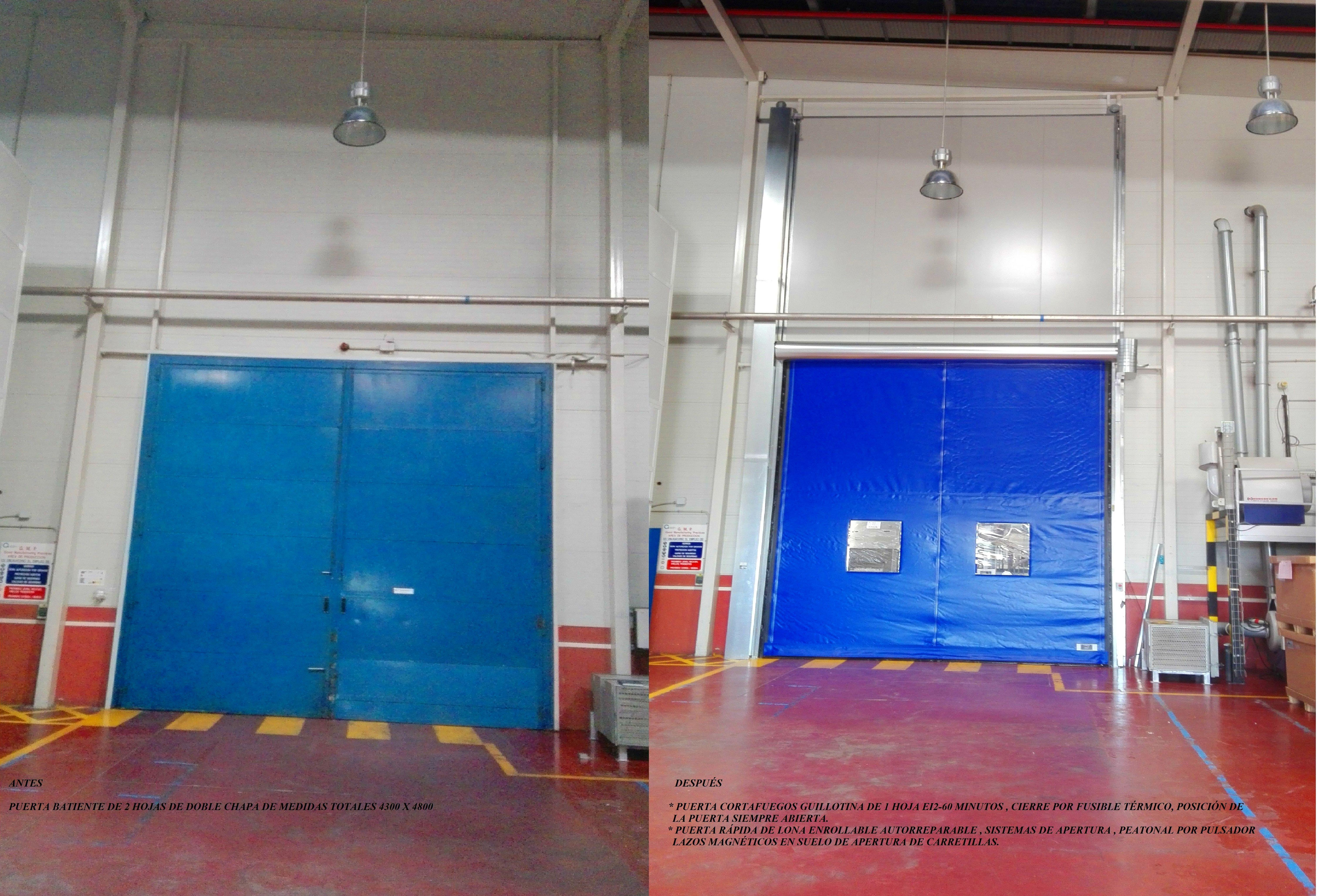 Puerta guillotina cortafuegos y rápida de lona enrollable autorreparable