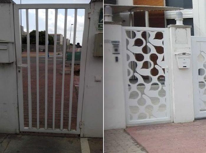 Puerta peatonal chapa corte laser diseño antes y después