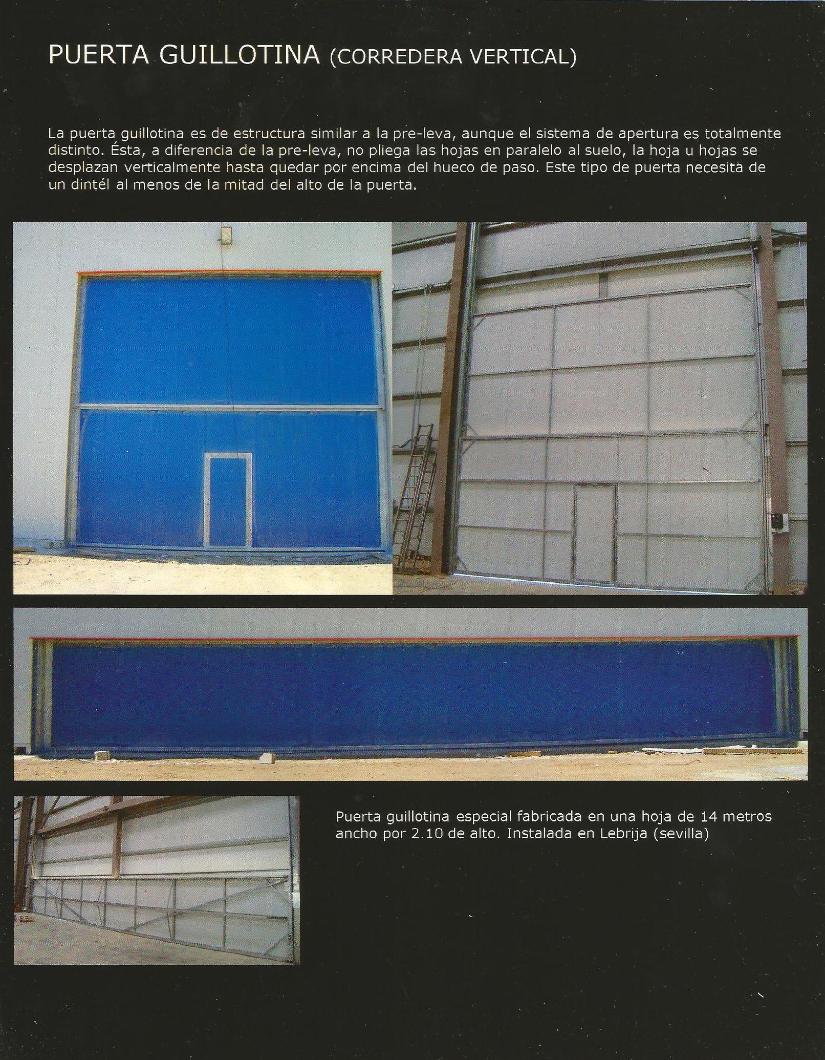Puerta de guillotina de contrapesos industrial de grandes dimensiones