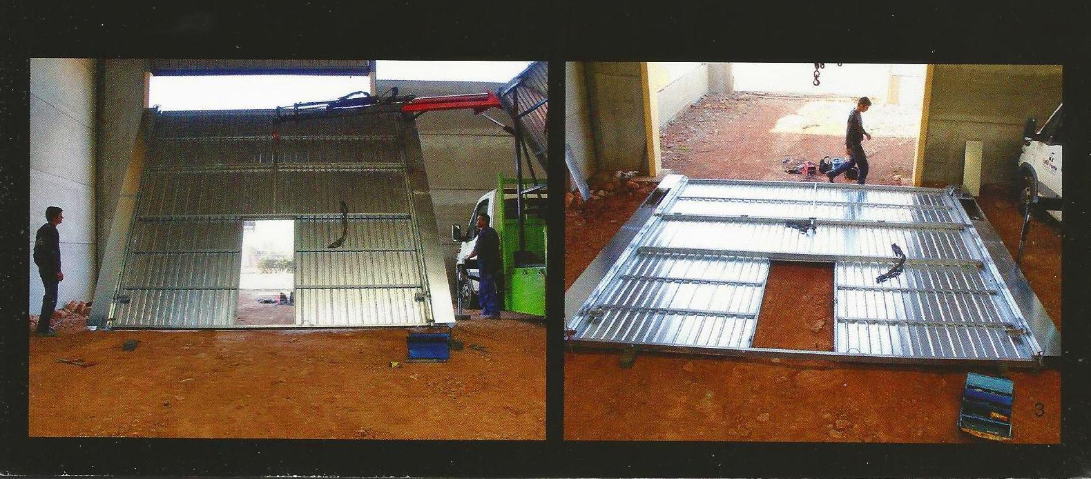 Montaje de puerta basculante de contrapesos pre leva industrial