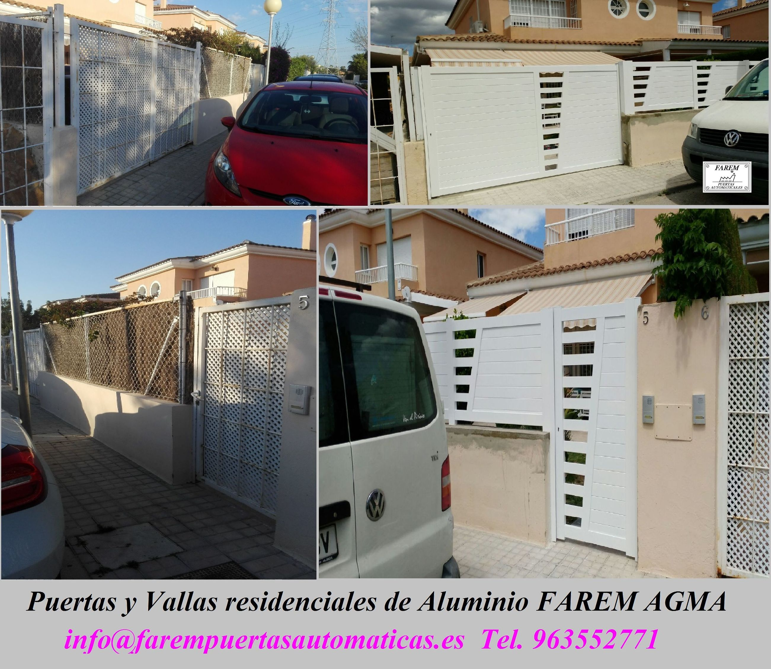 Puertas y Vallas de Parcela de Aluminio Blanco FAREM AGMA