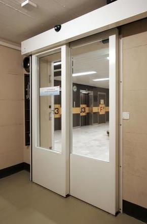 Puerta de Cristal Rápida de 2 hojas telescópica hermética quirófanos y salas blancas