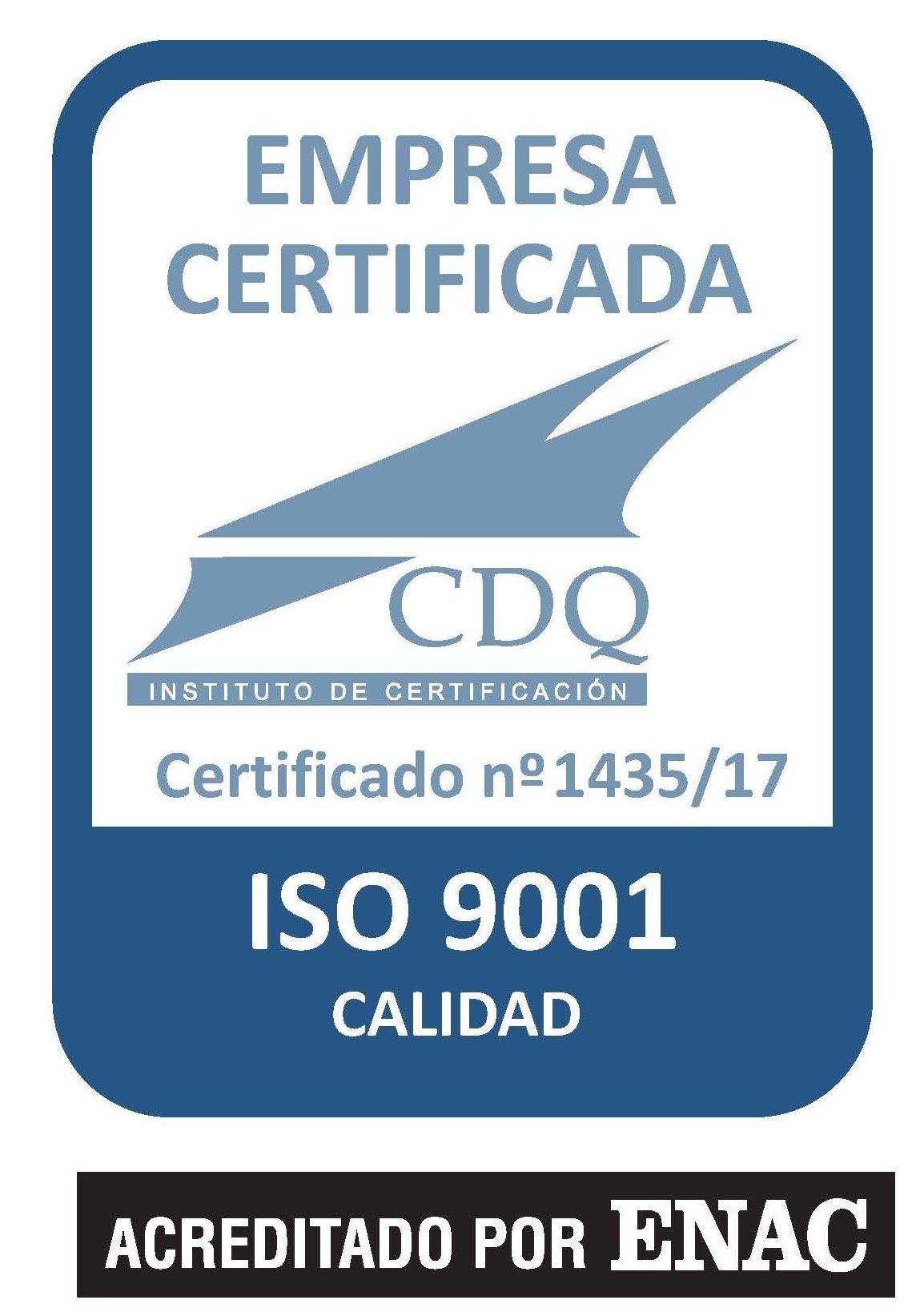 Certificado de calidad ISO 9001/2015