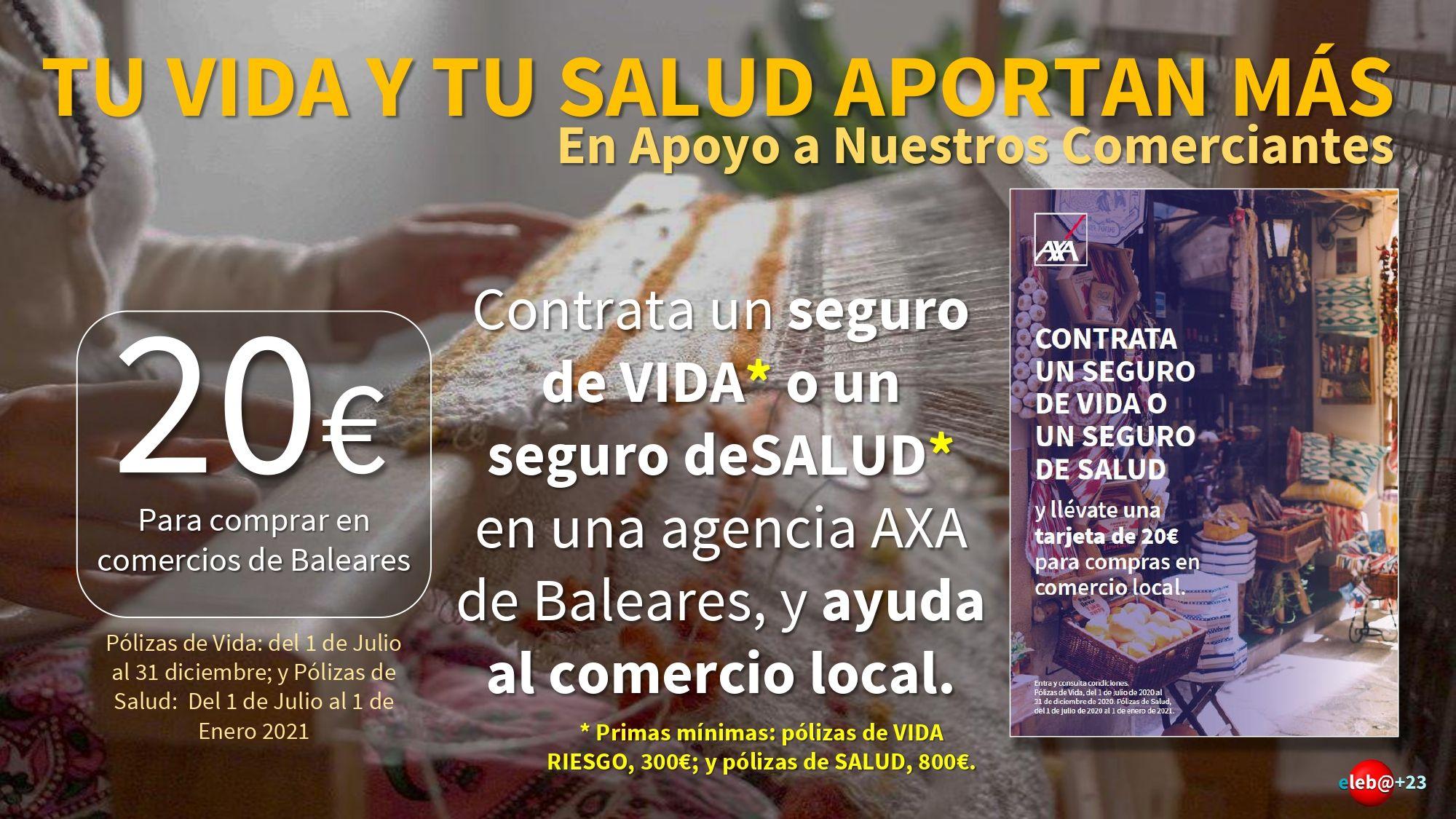 Pólizas de vida y de salud AXA con regalo de 20€ para comprar en negocios locales