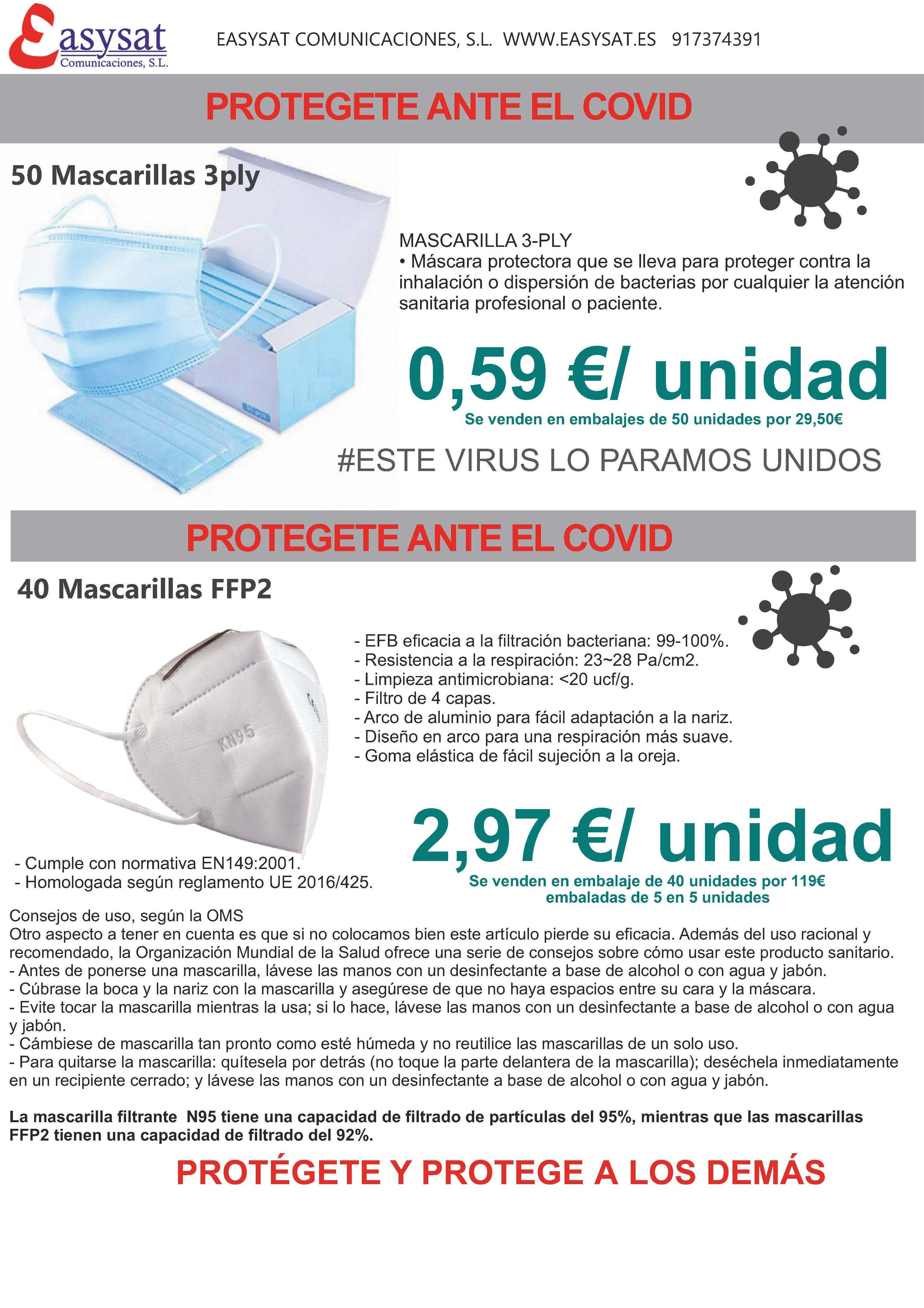 Material de protección y desinfección : Productos y servicios de Easysat Comunicaciones