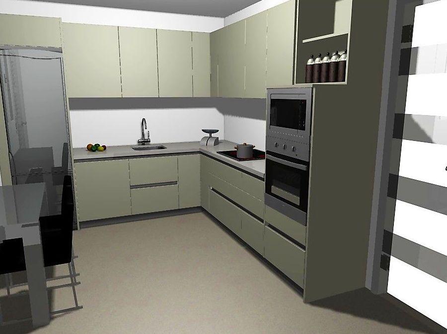 Proyecto cocina acabado gris perla alto brillo con reforma integral.