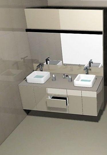 Mueble de baño flotante.